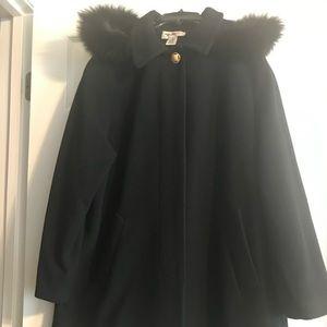 Wool Dress Coat W/ Fox fur hood